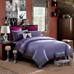 LOVO-Ideal-Life-100-Cotton-4-Piece-Bedding-Set-Duvet-Cover-Flat-Sheet-2x-Shams-Queen-Purple-0